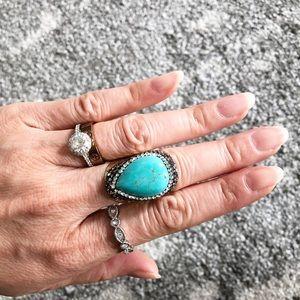 Turquoise + Rhinestone Bold Ring